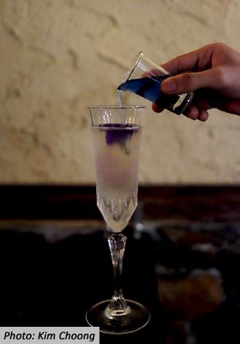 AD Bar Bangsar Fairys Tears Cocktail Blue Pea Flower Sparkling Wine