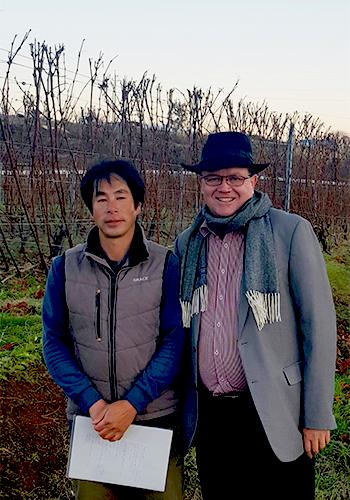 Stephen Hall and Grace Vineyard viticulturist Mitsuyoshi Kojima