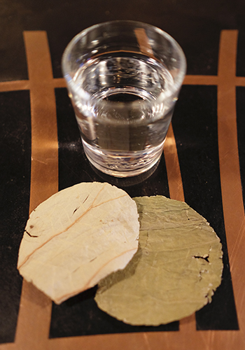 Natives uses dried lotus leave as coasters