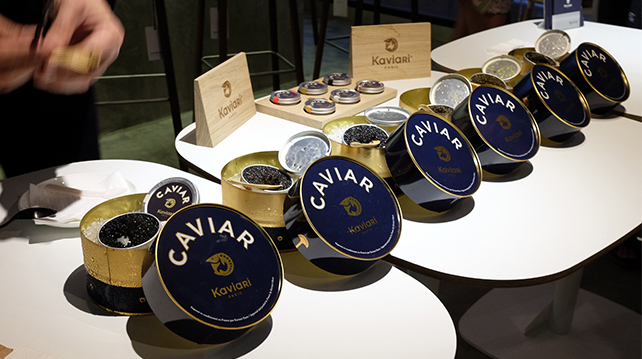 Caviar in tins on bed of ice